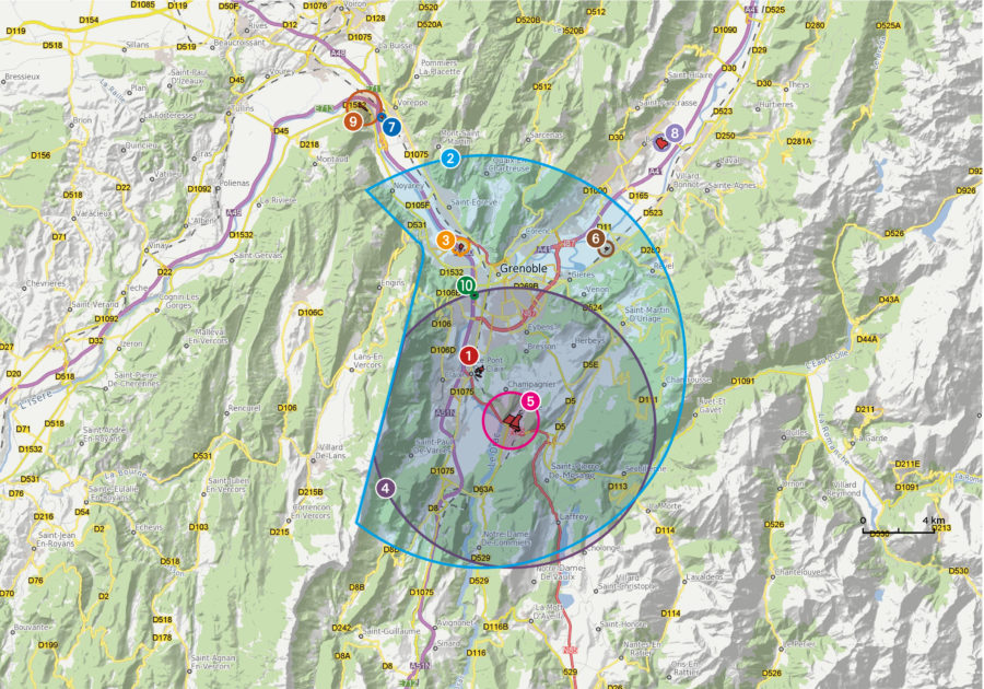Carte du bassin de risques de Grenoble.